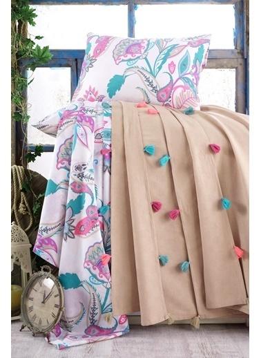 Lady Moda Çift Kişilik Pamuklu Ponponlu Pike Takımı | Bej Renkli